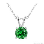 1 Carat Fancy Green Round Necklace Made with Swarovski Zirconia