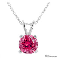 2 Carat Red Round Necklace Made with Swarovski Zirconia