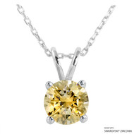 2 Carat Fancy Yellow Round Necklace Made with Swarovski Zirconia