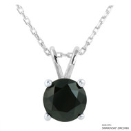 2 Carat Black Round Necklace Made with Swarovski Zirconia