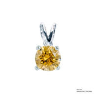 1 Carat Amber Solitaire Pendant Made with Swarovski Zirconia
