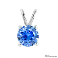 2 Carat Fancy Blue Round Pendant Made with Swarovski Zirconia