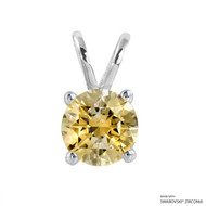 2 Carat Fancy Yellow Round Pendant Made with Swarovski Zirconia