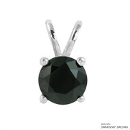 2 Carat Black Round Pendant Made with Swarovski Zirconia