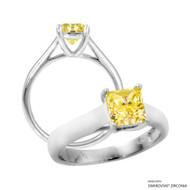 1 Carat Fancy Yellow Princess Ring Made with Swarovski Zirconia