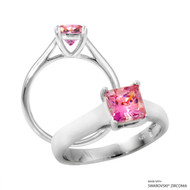 1 Carat Fancy Pink Princess Ring Made with Swarovski Zirconia
