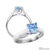 1 Carat Fancy Blue Princess Ring Made with Swarovski Zirconia
