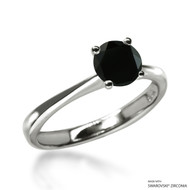Classic 1 Carat Black Solitaire Ring Made with Swarovski Zirconia