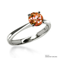 Classic 1 Carat Orange Solitaire Ring Made with Swarovski Zirconia