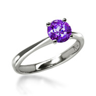 Classic 1 Carat Fancy Purple Solitaire Ring Made with Swarovski Zirconia