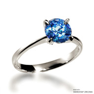 Classic 2 Carat Fancy Blue Solitaire Ring Made with Swarovski Zirconia