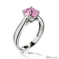 Eternity Love 2 Carat Fancy Pink Solitaire Ring Made with Swarovski Zirconia