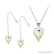 Crystal Luminous Green F Wild Heart Set Embellished with Swarovski Crystals