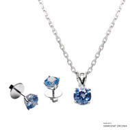 1 Carat Fancy Blue Solitaire Set Made with Swarovski Zirconia