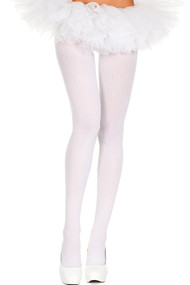 Music Legs Opaque Ribbed Design Pantyhose - White