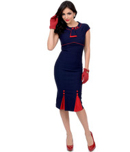 Stop Staring Bombshell - Navy/Red