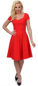 Unique Vintage Grace Swing Dress Short - Red