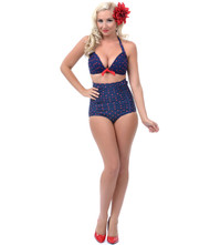 Unique Vintage Monroe Bikini Bottom - Blue & Red