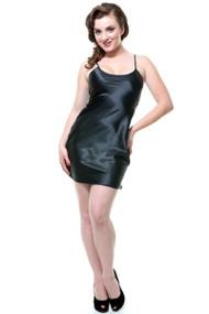 Unique Vintage Satin Slip Short - Black