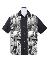 Steady Bettie Page Collage Panel Shirt - Black