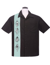 Steady Bettie Page Pinup Panel Shirt - Black