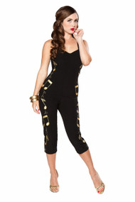 Bettie Page Rockabilly Baby Jumpsuit - Black