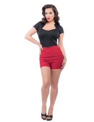 Steady High Waist Bombshell shorts - Red