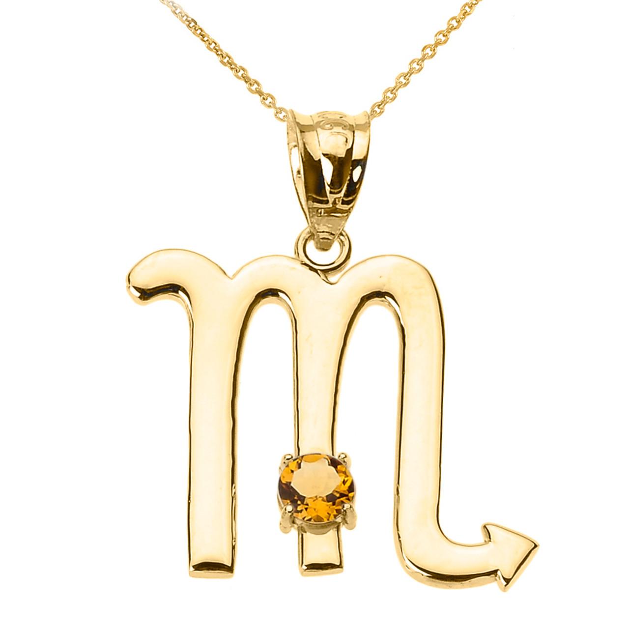 yellow gold scorpio zodiac sign november birthstone pendant necklace. Black Bedroom Furniture Sets. Home Design Ideas