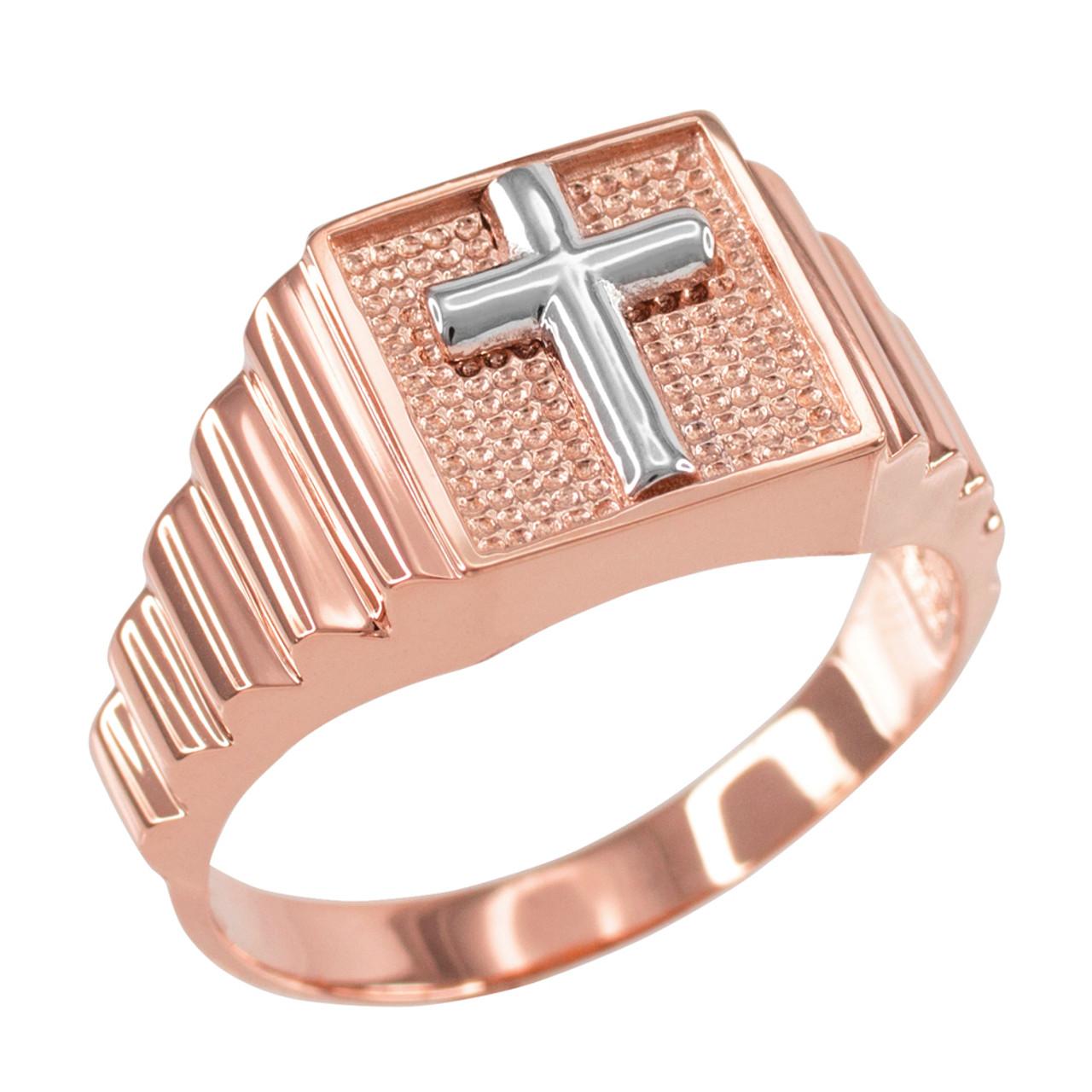 rose gold christian cross square mens ring. Black Bedroom Furniture Sets. Home Design Ideas