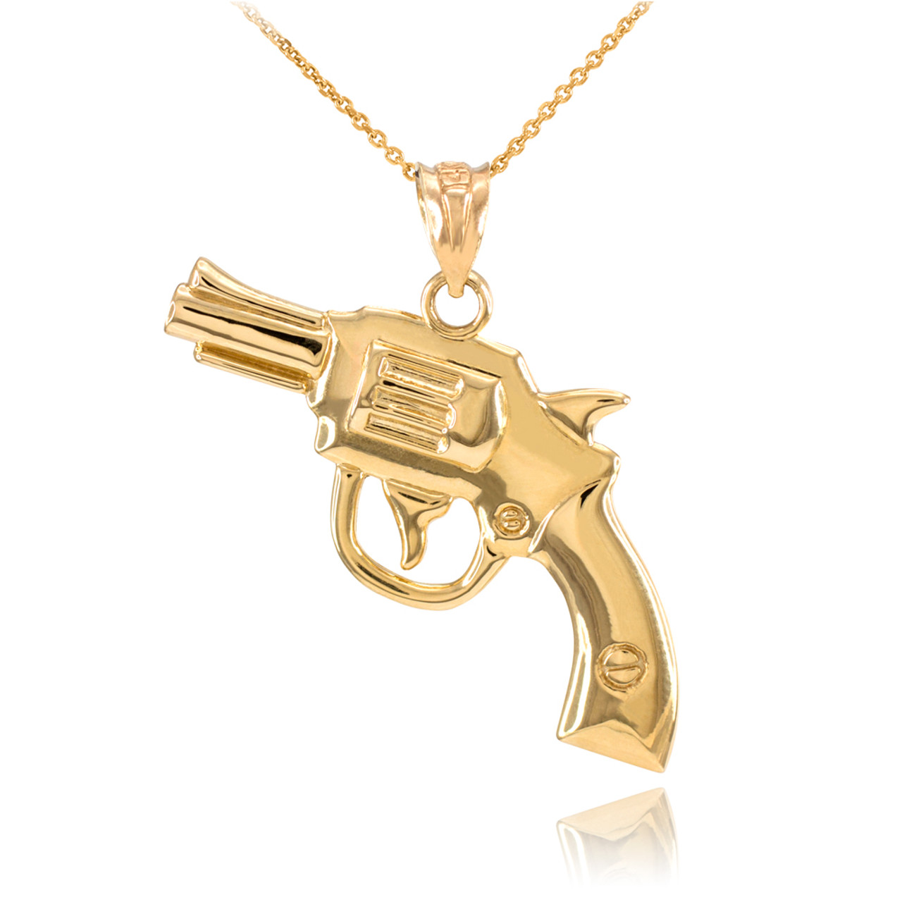 Solid gold revolver gun pendant necklace revolver gun pendants solid gold revolver gun pendant necklace aloadofball Image collections