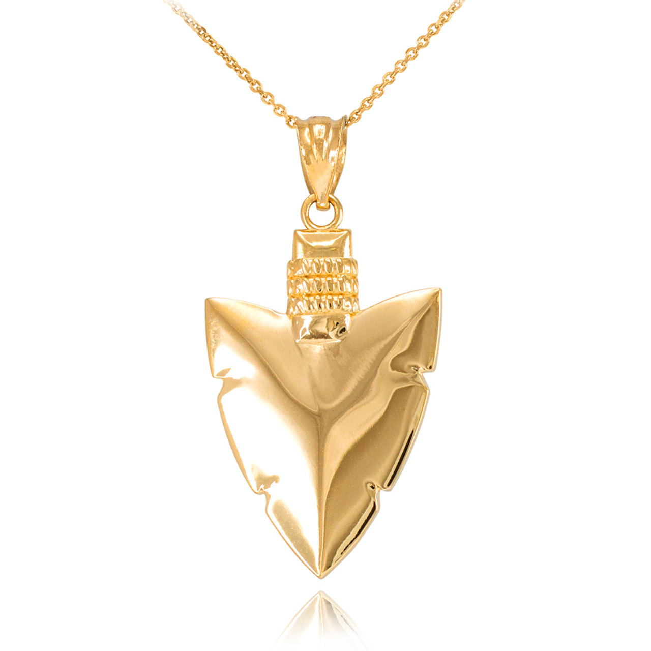 Gold arrowhead pendant necklace polished gold arrowhead pendant necklace aloadofball Image collections
