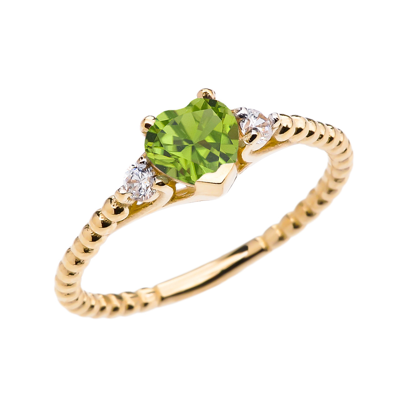 Gold Ring With Big Peridot Heart