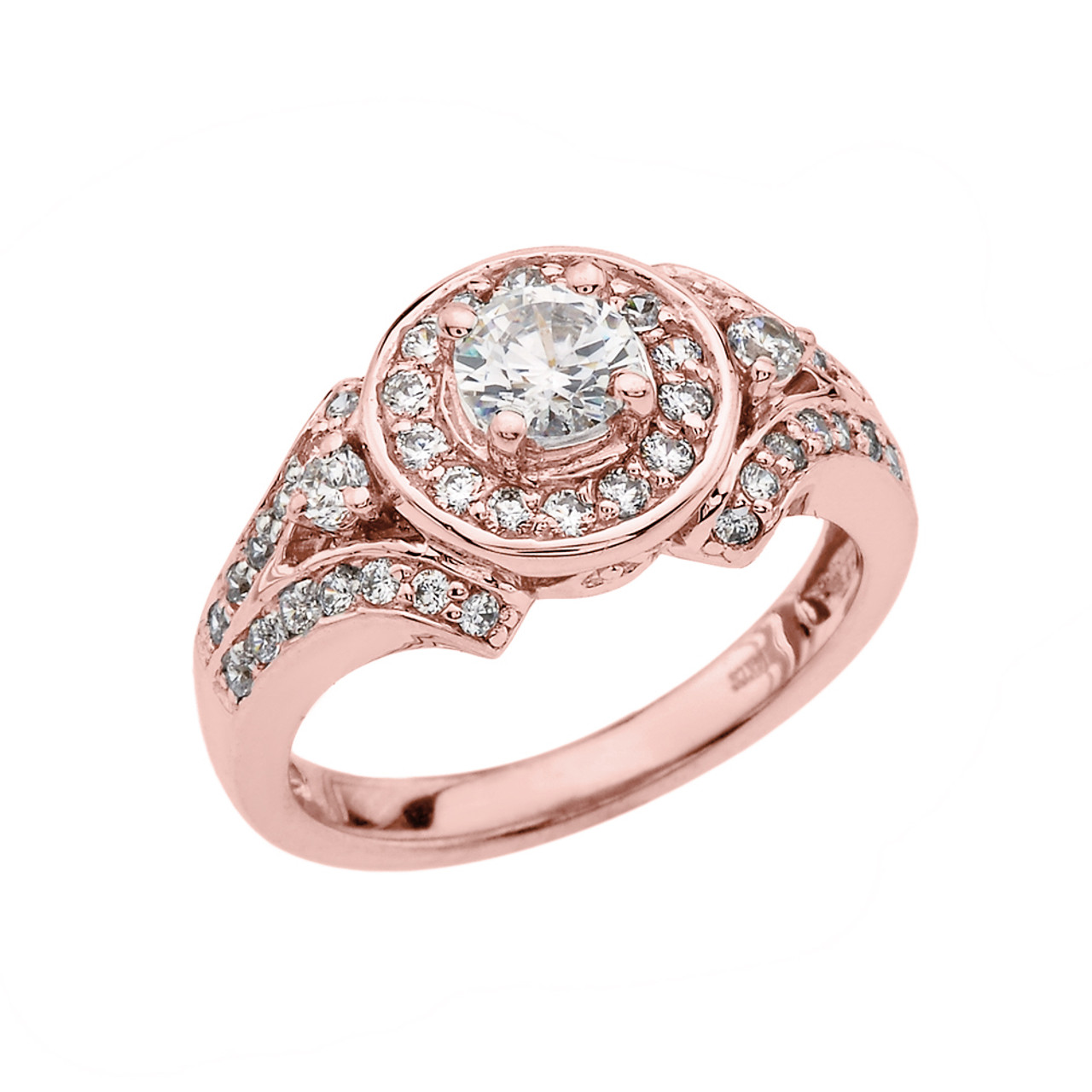 rose gold engagement proposal ring with cubic zirconia center stone. Black Bedroom Furniture Sets. Home Design Ideas