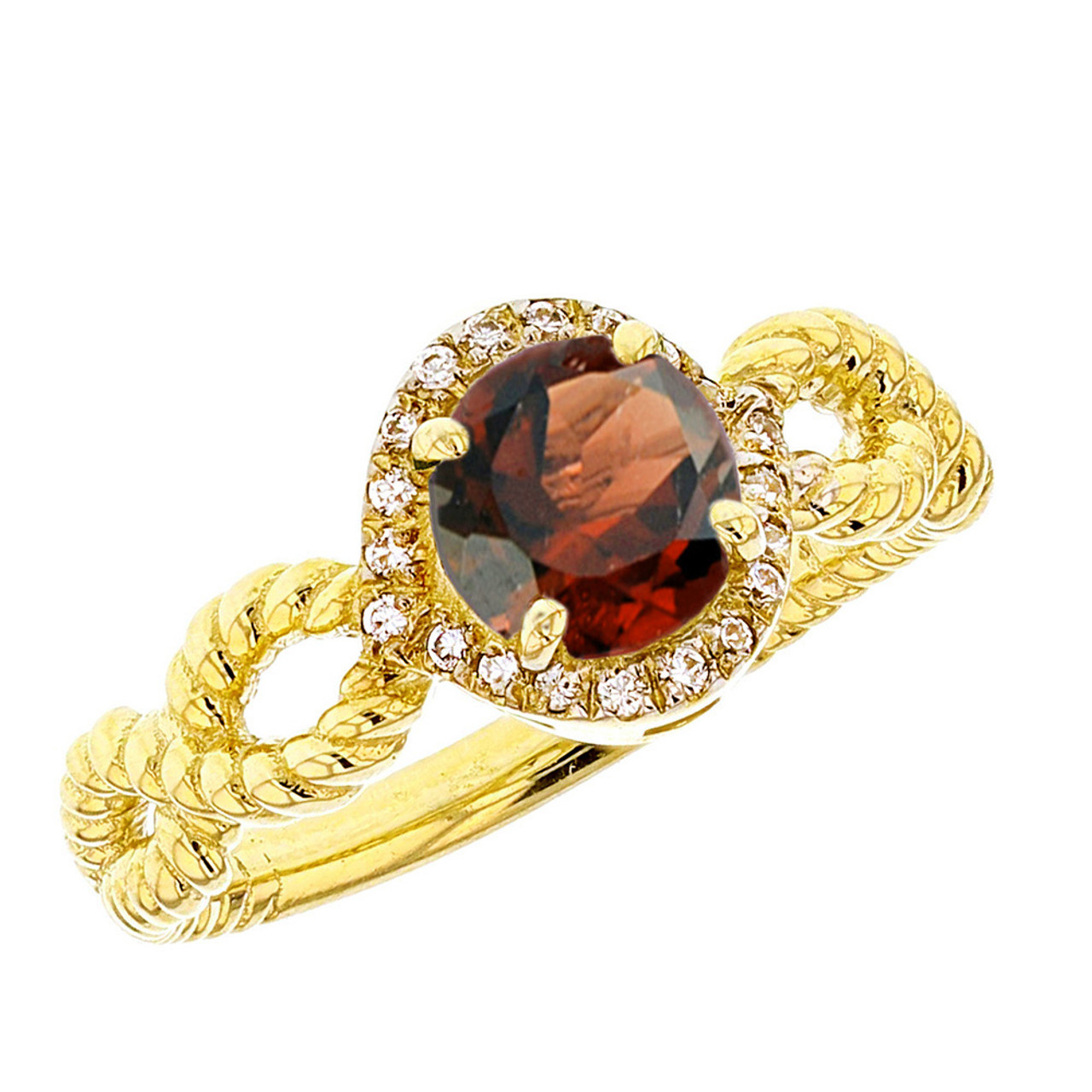 yellow gold infinity rope genuine garnet