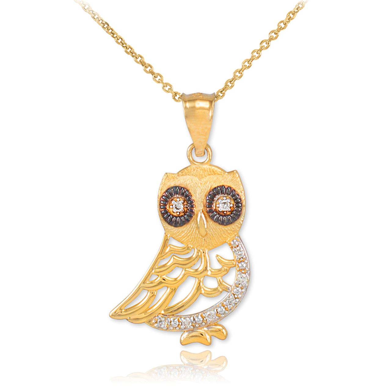 gold owl pendant with diamonds