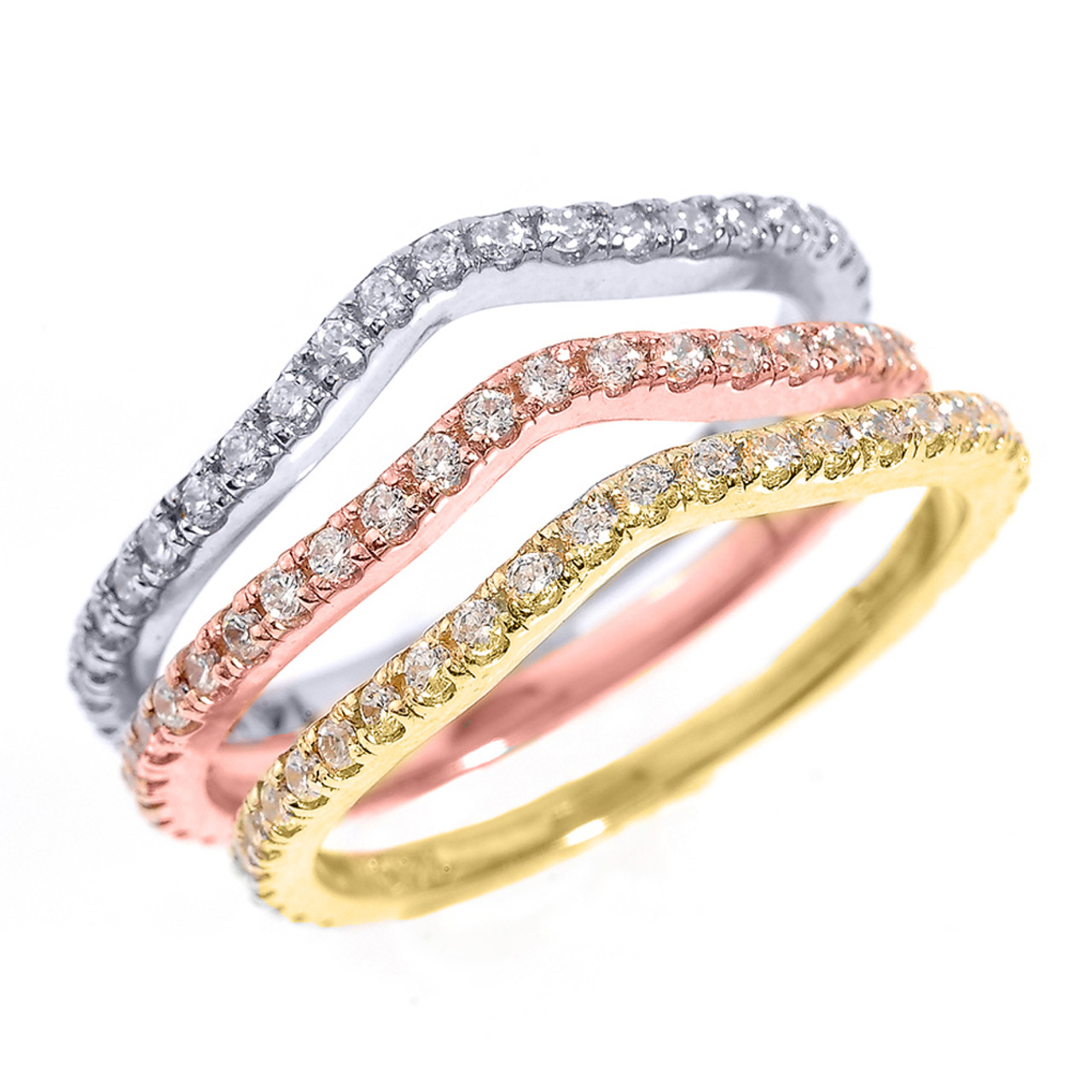 14k tri color gold chevron diamond stackable 3 piece wedding ring set - 3 Piece Wedding Ring Sets