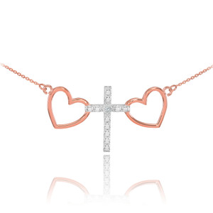 14 K Two Tone Rose Gold Heart Cross Diamond Necklace
