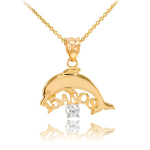 14K Gold 15 Años Dolphin CZ Pendant Necklace