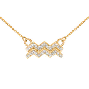 14K Gold Aquarius Zodiac Sign Diamond Necklace