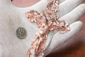 Men's Solid Rose Gold Extra Large Cross Pendant