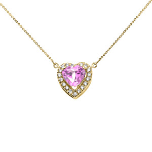 Elegant Yellow Gold Diamond and October Birthstone CZ Pink Heart Solitaire Necklace