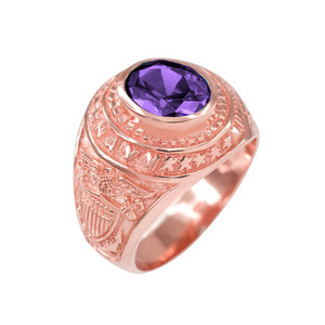 Solid Rose Gold US Navy Men's CZ Birthstone Ring