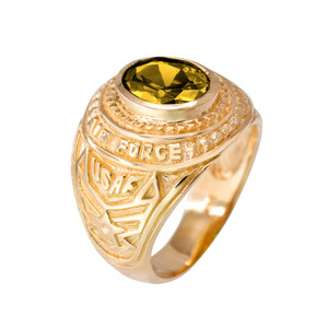 Solid Gold US Air Force Men's CZ Birthstone Ring