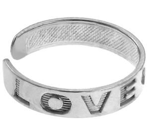 """""""LOVE"""" White Gold Toe Ring"""