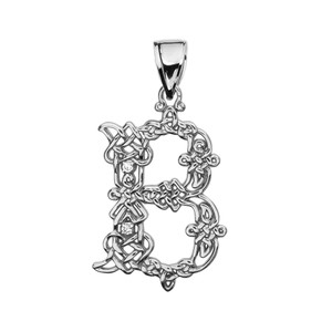 """B"" Initial In Celtic Knot Pattern White Gold Pendant Necklace With Diamond"