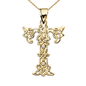 """""""T"""" Initial In Celtic Knot Pattern Yellow Gold Pendant Necklace With Diamond"""