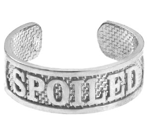 "SPOILED"" White Gold Toe Ring"