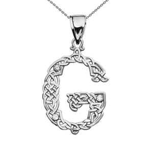"""""""G"""" Initial In Celtic Knot Pattern White Gold Pendant Necklace With Diamond"""