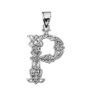 """""""P"""" Initial In Celtic Knot Pattern Sterling Silver Pendant Necklace"""