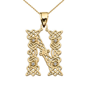 """""""N"""" Initial In Celtic Knot Pattern Yellow Gold Pendant Necklace With Diamond"""